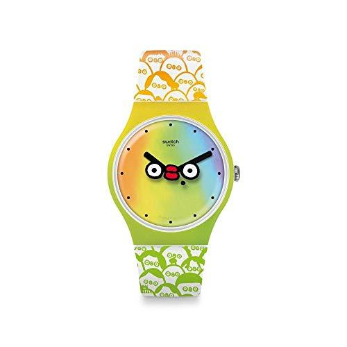 Swatch Unisex Erwachsene Analog Quarz Uhr mit Silikon Armband SUOZ303