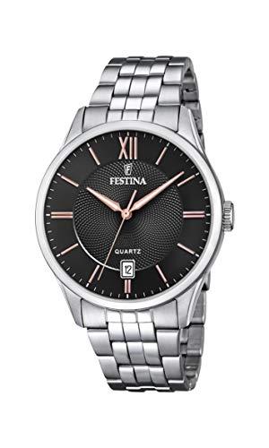 Festina Herren Analog Quarz Uhr mit Edelstahl Armband F20425/6
