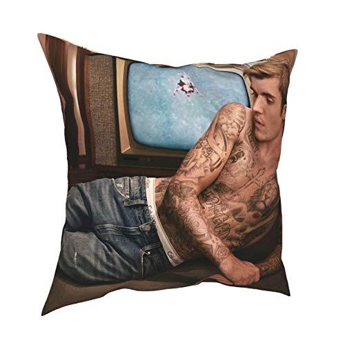 Justin Bi-eber - Cuscino decorativo per interni, 50,8 x 50,8 cm, può essere utilizzato in qualsiasi stanza della camera da letto