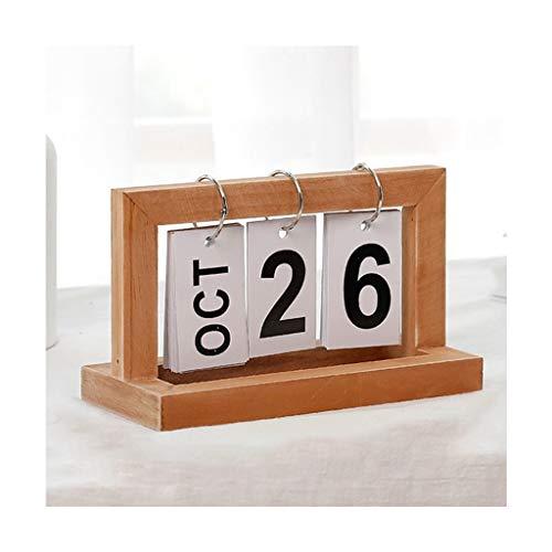 YC elektronica Kalenders Bureau Desktop Kalenders Retro Houten Tafel Bureau Kalender Flip Digitale Kalender Home Office Desktop Decoratie 7.87×3.54×4.72 Inches Muur Kalenders