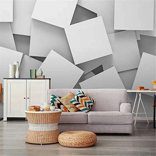 PSiFound® 3D Kinder Kunst Foto Wallpaper Wandbild Abstrakt Weiß Quadratisch Polygon (250X175Cm) Selbstklebender Vliesstoff Poster Diy Wandtattoo Mädchen Innenraum Schlafzimmer Wanddekoration