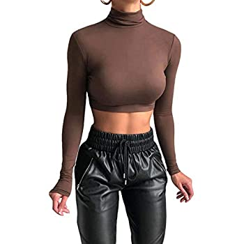 Lizxun Women s Turtleneck Top Casual Super Long Sleeve Crop Tops Active Basic Layer High Neck Pullover Shirts Brown