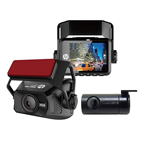 """HP F660G Full HD 1080P Dash Cam Front and Rear, Built-in GPS and G-Sensor, 2"""" LCD Display 150° Wide Angle Dual Dashcam, Night Vision Car Dash Camera, Mini Dash Camera for Cars"""