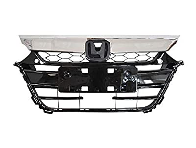 AutoModed Front Upper Bumper Grill Grille Assembly Replacement Compatible with 2018 2019 Honda Accord | Chrome ABS | by AutoModed