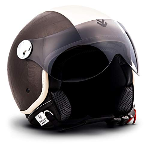 "ARMOR HELMETS® AV-84 ""Vintage Brown"" · Jet-Helm · Motorrad-Helm Roller-Helm Scooter-Helm Moped Mofa-Helm Chopper Retro Vespa Vintage Pilot · ECE 22.05 Visier Schnellverschluss Tasche XL (61-62cm)"