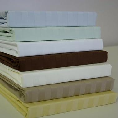 Royal Hotel California-King Gray Cotton-Blend Wrinkle-Free Sheets 650-Thread-Count Stripe Sheet Set