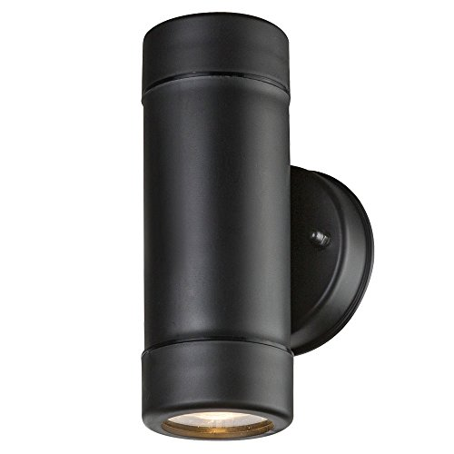 Led-buitenlamp, 2 x GU10, 5 W, hoogte 16 cm, zwart, direct en indirect licht.
