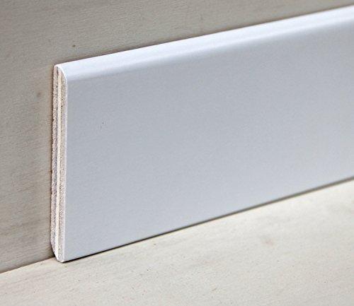 Hobby Legno - Battiscopa Rivestito In Legno Di Tanganica Laccato Bianco mm. 75X10X2400 (Prezzo Per ml. 4, 80)