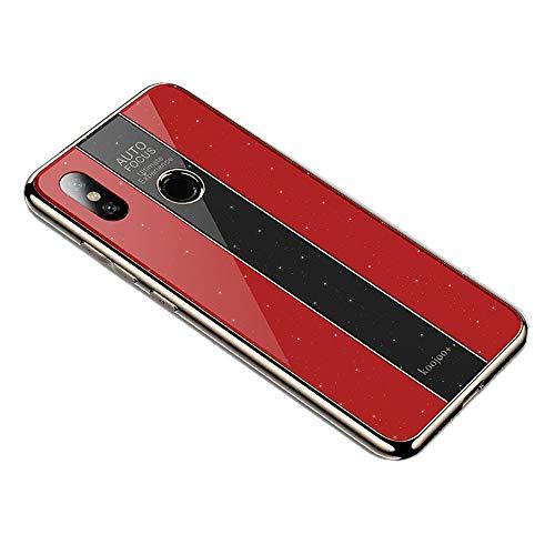 Miagon Überzug Hülle für Xiaomi Redmi Note 5 Pro,Glänzend Glitzer Überzug Plating Rahmen Ultra Dünn Hart PC Handyhülle Schutzhülle Tasche Weich Case Bumper für Xiaomi Redmi Note 5 Pro,Rot