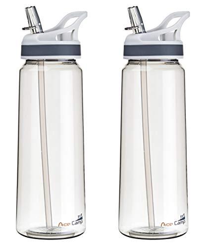 AceCamp Doppelpack TRITAN Trinkflasche   2X Wasserflasche auslaufsicher BPA-Frei   Sportflasche Trinkhalm I 750 ml I Grau I 155519