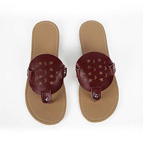 MedusaABCZeus Sandalias de Verano Playa,Sandalias de Mujer de Fondo Plano, Zapatos de Playa Ligeros de Talla Grande.-Rojo marrón_36,Toe Post Sandals