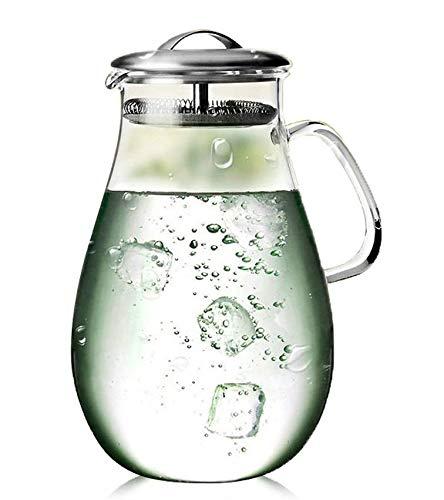 Christina Home Designs Water Pitchers - 64 oz Glass Water Pitcher with Lid - Gallon Pitcher with Lids - Carafes For Juice - Borosilicate Glass For Margarita Jug, Drink Pitcher, Sangria Pitcher, Tea