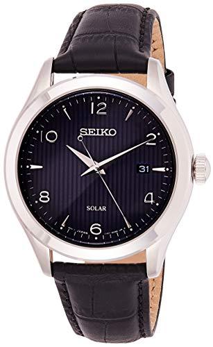 Seiko Solar Herren-Uhr Edelstahl mit Lederband SNE491P1