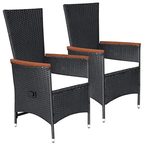 tidyard Gartensessel Liegestühle 2 STK mit Verstellbare Rückenlehne, aus Poly-Rattan + Stahlrahmen + Akazienholz-Armlehnen, Schwarz, 58 x 62 x 108 cm - Gartenmöbel balkonmöbel