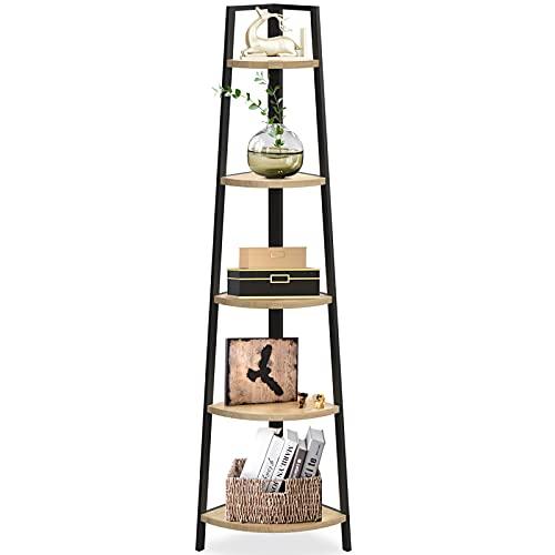 SpringSun 5-Tier Corner Ladder Wood Shelf, Display Rack Multipurpose Bookshelf and Plant Stand for Living Room and Office