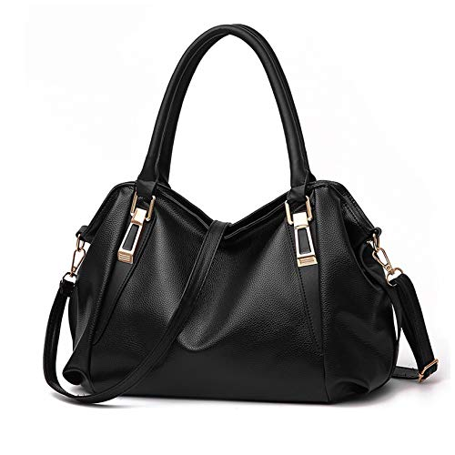TRAMILY Hobo Bags for Ladies Soft Fashion PU Handbag Large Shoulder Bag Satchel Work Tote Bag for Women Work Daily Use with Detachable Shoulder Strap(Black)