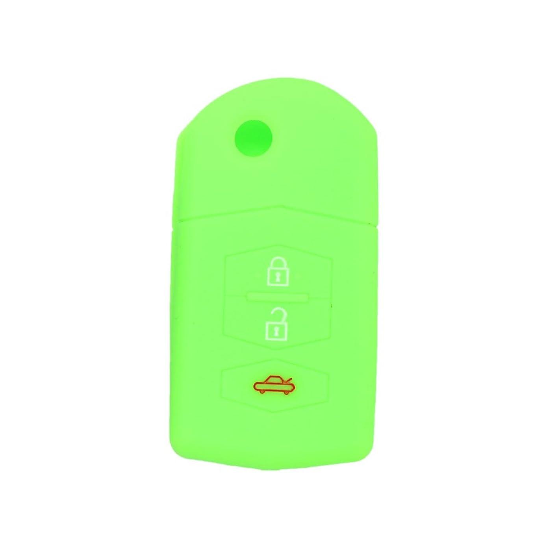 SEGADEN Silicone Cover Protector Case Skin Jacket fit for MAZDA 3 Button Flip Remote Key Fob CV9530 Light Green