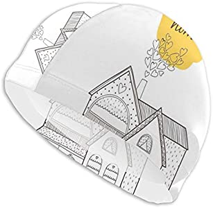 GUUi Swimming Cap Elastic Swimming Hat Diving Caps,Village House with Dots Lines and Hearts Old English Country,For Men Women Youths
