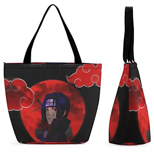 Naruto Uchiha Itachi (9) Bolsa de compras portátil de gran capacidad, casual y versátil, moda tendencia, bolsa de viaje con un solo hombro, protección del medio ambiente