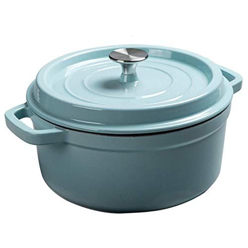 Cazuela, olla de hierro fundido esmaltada, olla de sopa con tapa, olla de estofado, olla de fideos, apta para estufas de gas, para 3 – 7 personas (color: azul, tamaño: 4800 ml)