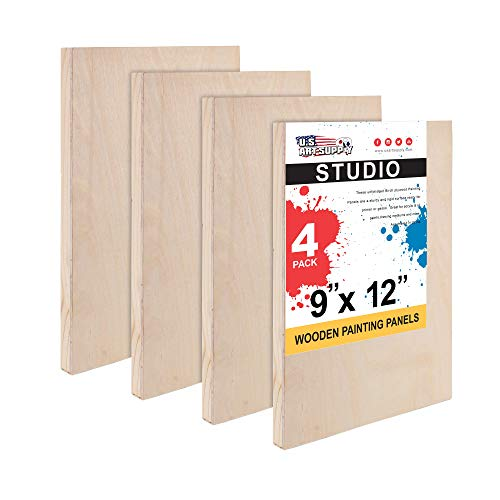 "U.S. Art Supply 9"" x 12"" Birch Wood Paint Pouring Panel Boards, Studio 3/4"" Deep Cradle (Pack of 4) - Artist Wooden Wall Canvases - Painting Mixed-Media Craft, Acrylic, Oil, Watercolor, Encaustic"