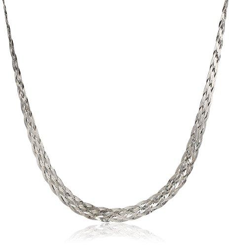 Italian Sterling Silver 6-Strand Braided Herringbone Necklace, 18