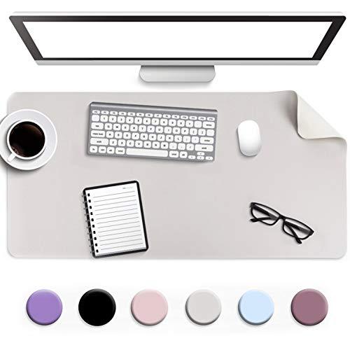 Multifunktionales Office Mauspad, YSAGi 80 x40 cm Wasserdichte Schreibtischunterlage aus PU-Leder, Ultradünnes Mousepad zweiseitig nutzbar, ideal für Büro und Zuhause (Grau - Single, 80 * 40 cm)