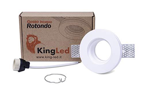 KingLed – Spot Encastrable en Plâtre Céramique Modèle Rond mince pour Faux Plafond, pour LED GU10, Support de lampe GU10 inclus 100x28mm Code.0627