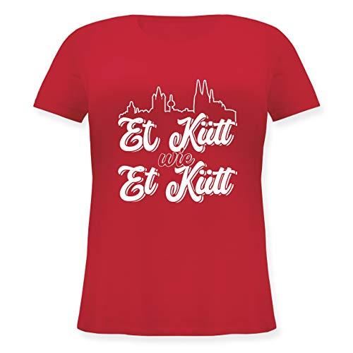 Karneval & Fasching - Et Kütt Wie Et Kütt Weiß Köln Silhouette - 44 Große Größen - Rot - Geschenk - JHK601 - Lockeres Damen-Shirt in großen Größen mit Rundhalsausschnitt