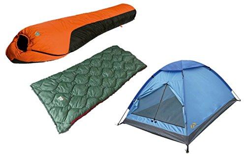 Alpinizmo High Peak USA Ranger 20F und Waterproof 0F Schlafsack, Blau/Orange/Grün, Einheitsgröße