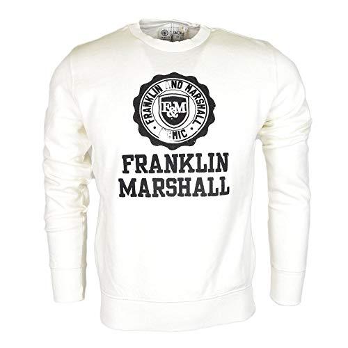 Franklin & Marshall - Sudadera de algodón con logotipo de cuello redondo, color blanco Blanco blanco XXL