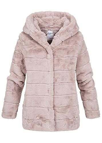 Seventyseven Lifestyle Damen Kunstfell Winter Jacke Kapuze rosa, Gr:XXL