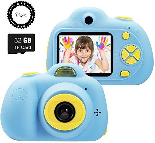 "SeeKool Cámara Digital para niños,2 Objetivos Selfie 18 Millones de Pixels Cámara Digital 1080P HD Video, Zoom Digital 4X, Flash Lights, 2"" LCD, Batería Recargable con 16GB Tarjeta de Memoria (Azul)"