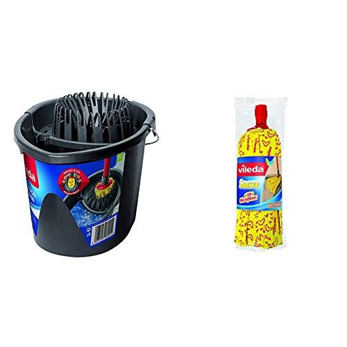 Vileda Wring & Go - Cubo Patentado para un escurrido más fácil, Color Gris, 48 x 29 x 39 cm + Suave - Fregona + 30% microfibras, Recambio para fregona, Cabezal Universal, Color Amarillo