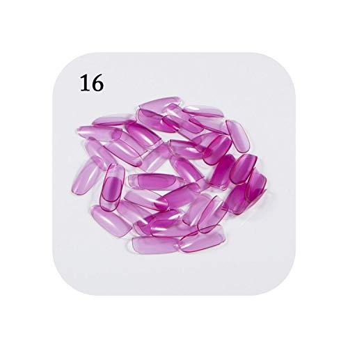 Faux ongles conçus | 500 pcs Ovale Ongles Conseils Violet Clair Faux Acrylique Ongles Artificiels Pleine Couverture Français Nail Art Conseils Retail-16-
