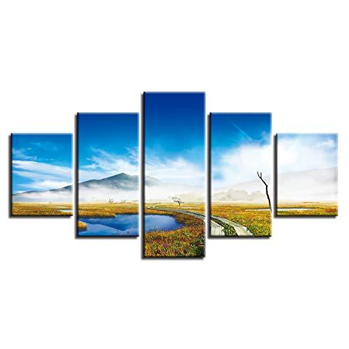 XGDDSS 5 Fotos consecutivas Cuadro de impresión HD decoración Pintura de Pared Arte 5 Piezas Sendero montaña y Cielo Azul Nube Blanca Paisaje Lienzo póster Modular Cartel decoración Pared (Sin Marco)