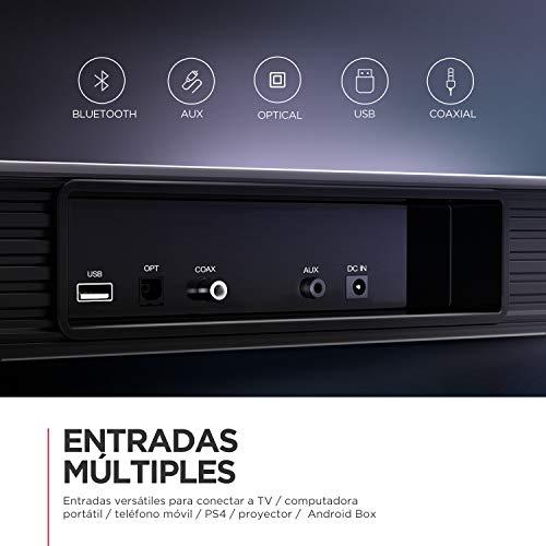Barra de Sonido 2.1 Canales para TV, BOMAKER 170W, 120 dB, con Subwoofer Inalámbrico de Tamaño Extra, Soporta Conexiones Óptico/RCA/Coaxiales/Bluetooth, para Cine en Casa, Njord I [2020 Actualizado]
