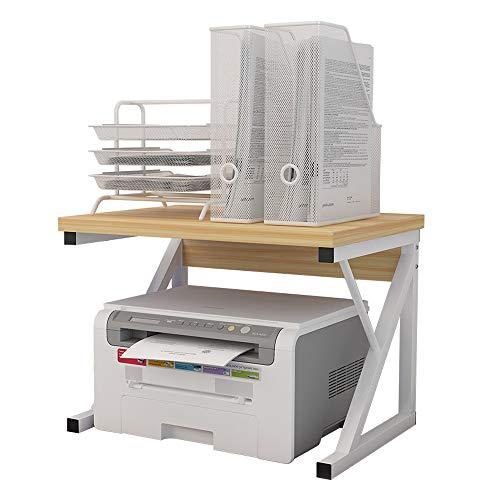 プリンター台 卓上収納 机上プリンター棚 多機能 食器棚 電子レンジ上ラック レンジ上ラック レンジボード 2段式 大容量 キッチン収納棚 デスクオーガナイザー 耐荷重25kg (ウッド, Y)