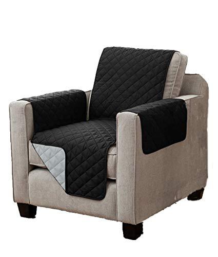 Home Edition Wende Sesselschoner mit Taschen, leicht gesteppt, schwarz-grau