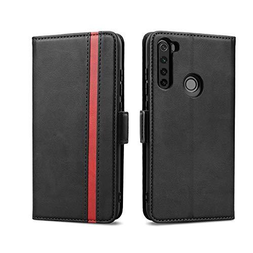 Rssviss Hülle für Xiaomi Redmi Note 8T, Handyhülle Xiaomi Redmi Note 8T PU Leder Case [4 Kartenfächer] mit [Magnetverschluss] [Handy Ständer] Klapphülle Xiaomi Redmi Note 8T Schutzhülle 6,3 Schwarz