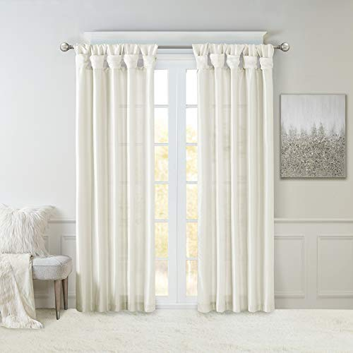 Madison Park Emilia Faux Silk Curtain with Privacy Lining, DIY Twist Tab Top, Window Drapes for Living Room, Bedroom and Dorm, 50x84, White