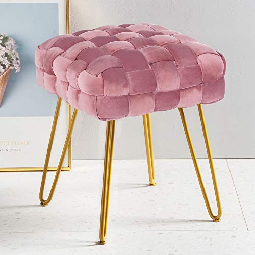 Modern Velvet Square Ottoman,Classical Woven Upholstered Ottoman with Gold Metal Legs Vanity Stool Makeup Chairs for Living Room, Pinkish Lavender