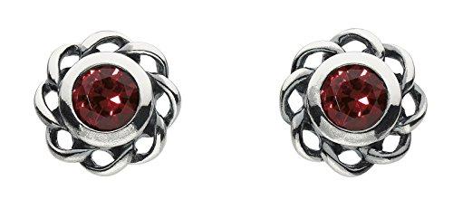 Heritage Sterling Silver and Red Crystal Stud Earrings 3234JAN