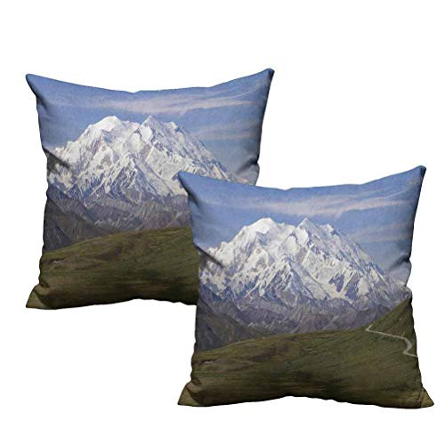 Two Piece Decorative Square Throw Pillow McKinley Mountain in Denali National Park in Alaska Scenic Landscape 16