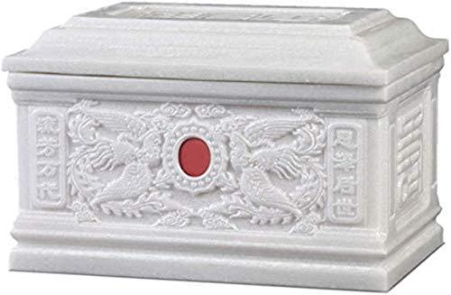 HYBUKDP Ataúdes y urnas La cremación urna de mármol Cenizas humanas Mini cremación urnas Be Applicable Compatible for Mascotas Material, Exquisita decoración en Relieve recipientes funerarios Ataúdes