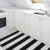 Elloevn Schwarz und Weiß Streifen Moderne Teppiche, Waschbar Fußmatte Outdoor, Shaggy Terrasse Teppich für Wohnzimmer, Küche, Kinderzimmer, 70 * 110 cm - 4