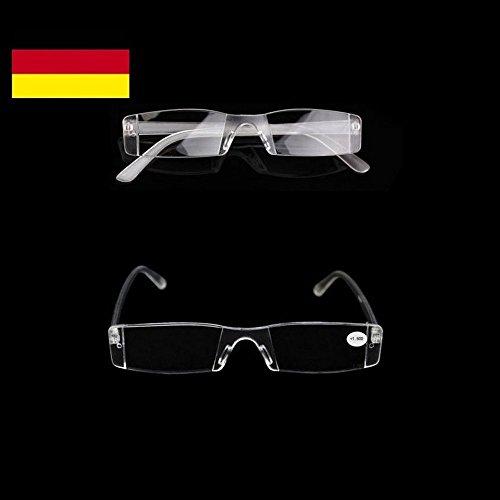 GiXa Herren/Damen Randlos Lesebrille mit Stärke +1,0 +1,5 +2 +2,5 +3 +3,5 +4 Dioptrien/dpt Lese Brille Sehhilfe Lesehilfe Sehstärke Glas Stärke (Dioptrien/Stärke, 3,0)
