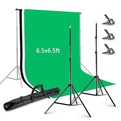 Neewer 2x2m Hintergrund Unterstützungs System mit 1,8 x 2,8 Meter Hintergrundstoff (weiß / schwarz / grün) und 3 stück Federzwingen für Fotostudio Porträt Produkt Video Fotografie