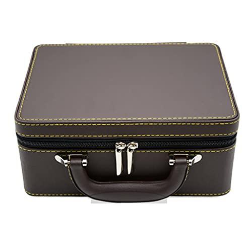 XTXY Maleta Vintage Caja De Almacenamiento De Joyas Joyero Portátil Maleta De Calidad Flannelette PU Leather Jewelry Display Box (Brown)