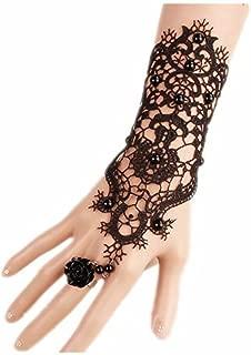LEFINIS Bridal Black Flower Gothic Victorian Lace Vampire Vintage Women Handmade Bridal Bracelet Ring Set